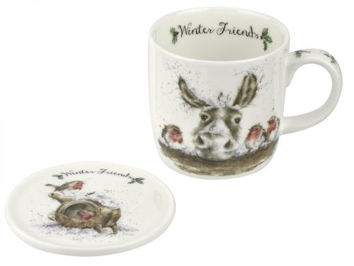 "This Christmas Mug features a beautiful illustration of a Donkey and hi three friends, all together over Christmas. A beautiful addition to your kitchen this Christmas. Size: Mug 0.31L Coaster 9.5cm - Mug 11fl.oz. Coaster 3.75"". By: Wrendale. Product Code: WNOZ3943-XG."