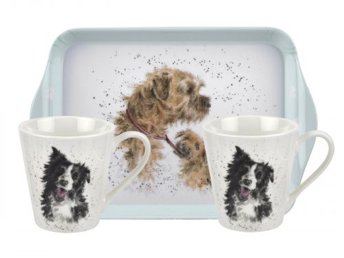 """This set features two lovely illustrations of two dogs, the perfect gift for any dog lover. Size: 0.18L Mug, 21 x 14cm Tray - 6.5fl.oz Mug, 8"""" x 5.5"""" Tray. By: Wrendale. Product Code: X0011658929."""