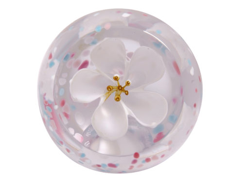 Caitness Glass Paperweight Blossom Ivory