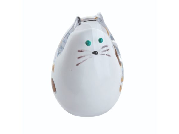 Caithness Glass White Spotty Cat Paperweight