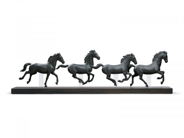 Lladro Galloping Herd - Black