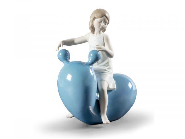 Lladro My Seesaw Balloon Girl - Blue