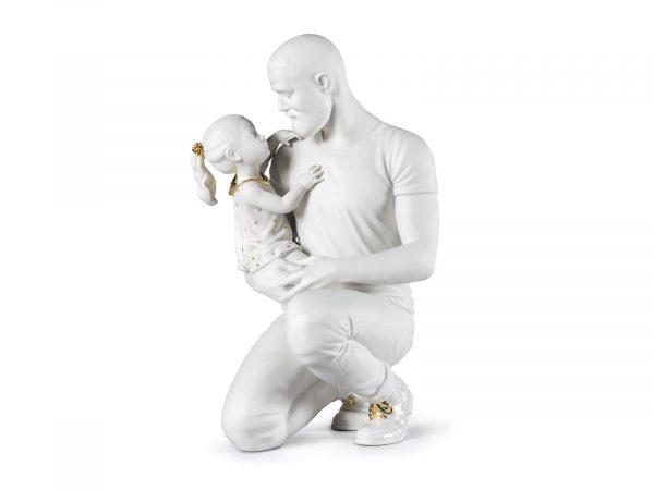Lladro In Daddy's Arms - Re-Deco White & Gold