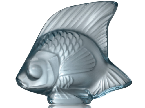Lalique Crystal Seal Fish Persepolis Blue