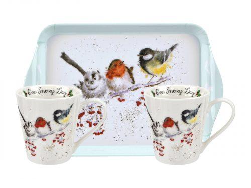 Royal Worcester Wrendale Mug & Tray Set - One Snowy Day / Birds