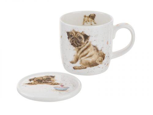 Royal Worcester Wrendale Mug & Coaster Set - Pug Love / Dog