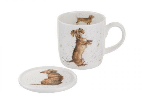 Royal Worcester Wrendale Mug & Coaster Set - Hello Sausage / Dog