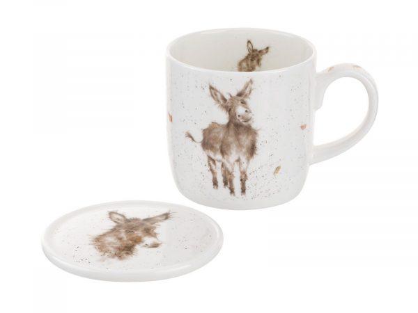 Royal Worcester Wrendale Mug & Coaster Set - Gentle Jack / Donkey