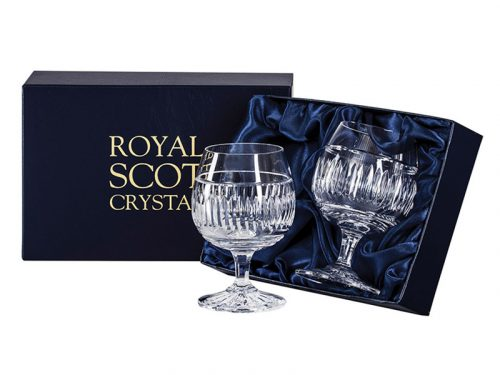 Pair of Royal Scot Crystal Art Deco Brandy Glasses