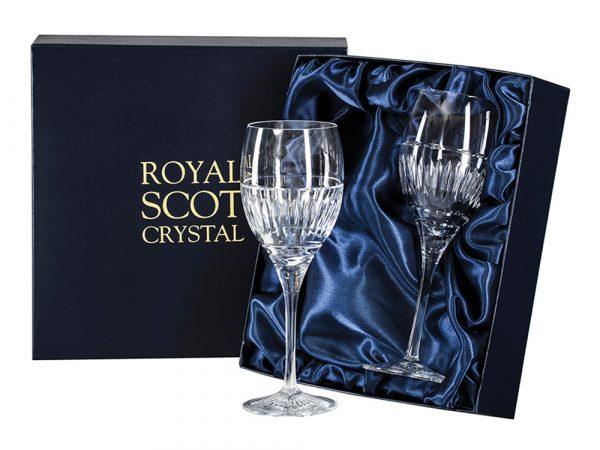 Pair of Royal Scot Crystal Art Deco Wine Glasses