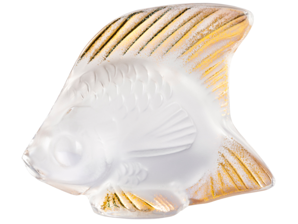 Lalique Crystal Clear and Gold Seal Fish