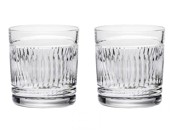 Pair of Royal Scot Crystal Art Deco Whisky Glasses