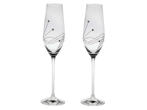 Pair of Royal Scot Crystal Diamante Champagne Flutes