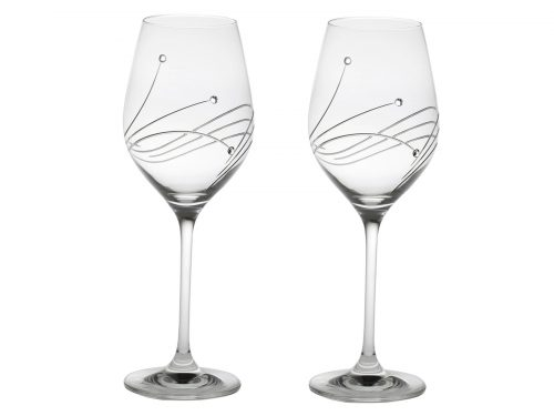 Pair of Large Royal Scot Crystal Diamante Wine Glasses