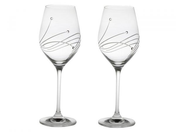 Pair of Large Royal Scot Crystal Diamante Wine Glasses