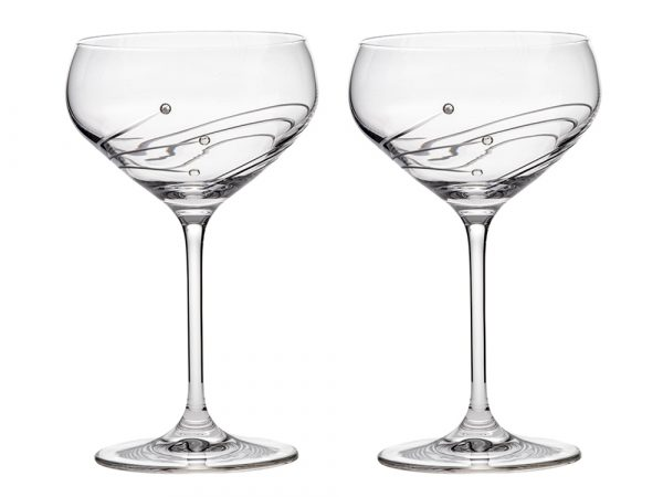 Pair of Royal Scot Crystal Diamante Champagne Saucers