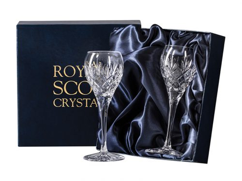 Pair of Royal Scot Crystal Edinburgh Port and Sherry Glasses