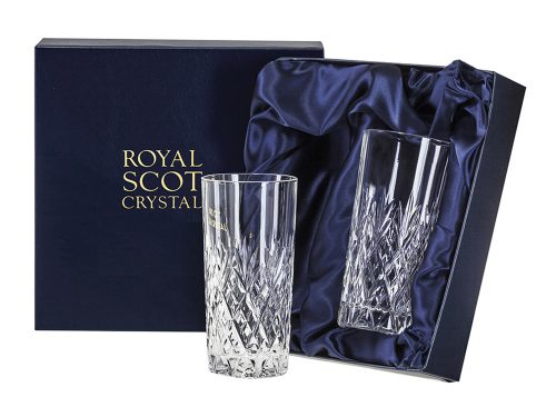 Pair of Tall Royal Scot Crystal Edinburgh Tumblers