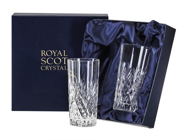 Pair of Tall Royal Scot Crystal Edinburgh Tumblers