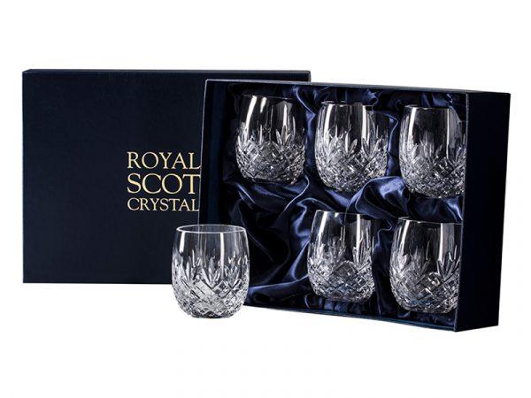 Set of 6 Royal Scot Crystal Edinburgh Barrel Tumblers