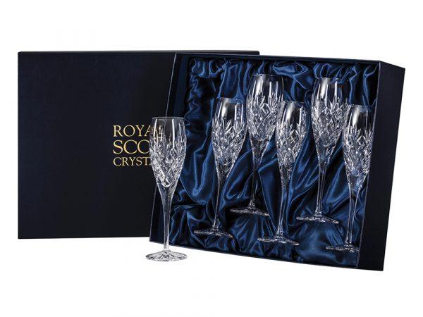 Set of 6 Royal Scot Crystal Edinburgh Champagne Flutes