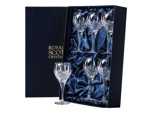 Set of 6 Large Royal Scot Crystal Edinburgh Wine Glasses