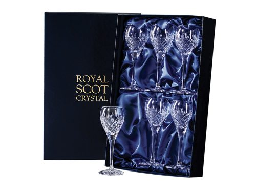 Set of 6 Royal Scot Crystal Edinburgh Port and Sherry Glasses