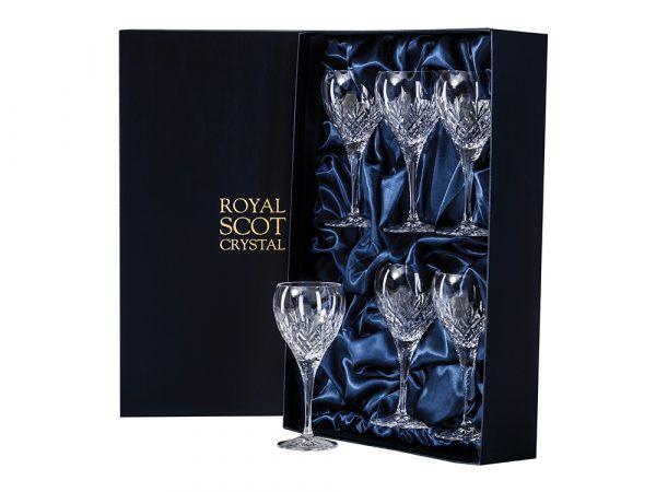 Set of 6 Small Royal Scot Crystal Edinburgh Wine Glasses