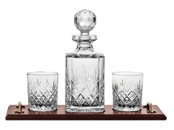 Royal Scot Crystal Edinburgh Whisky Decanter, Tumbler & Tray Set