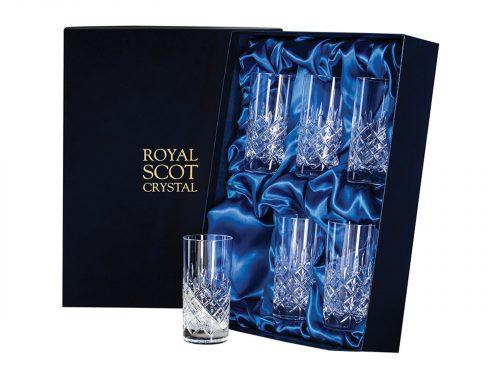 Set of 6 Tall Royal Scot Crystal London Tumblers