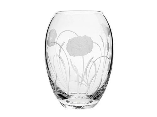 Small Royal Scot Crystal Poppyfield Barrel Vase