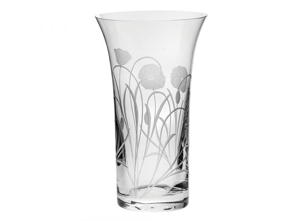 Large Flared Royal Scot Crystal Poppyfield Vase