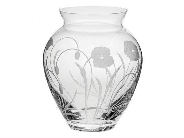 Large Royal Scot Crystal Poppyfield Posy Vase
