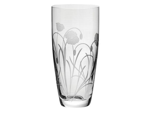 Tall Royal Scot Crystal Poppyfield Vase