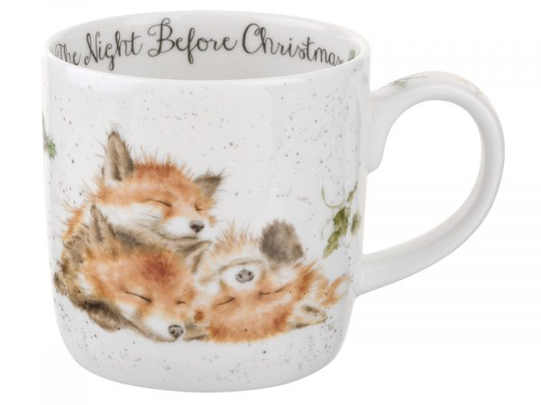 The Night Before Christmas Wrendale Mug with 3 sleeping baby foxes