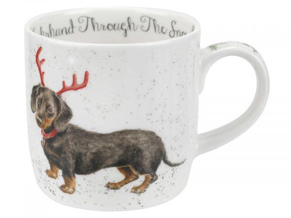 Dachshund Through The Snow Wrendale Christmas Mug