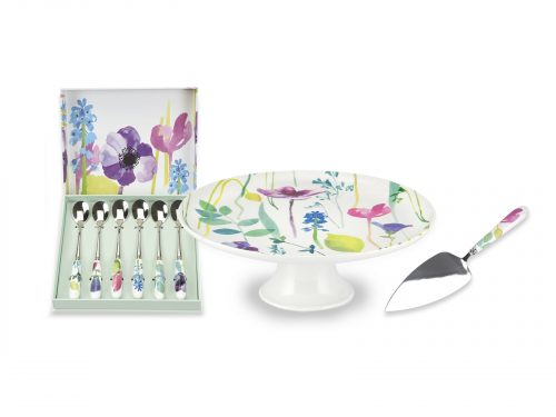 Portmeirion Water Garden Bundle - Cake Stand & Slice with Teaspoons
