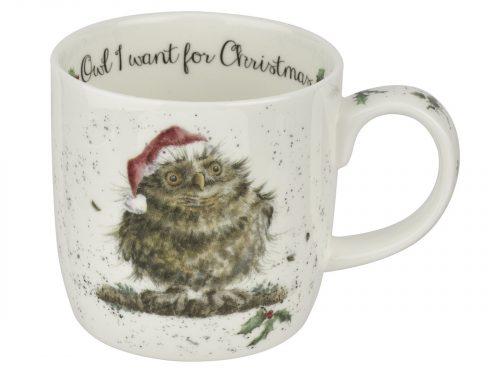 owl i want for christmas wrendale mug
