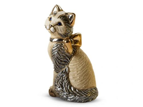 De Rosa Porcelain of a Cat with a Ribbon