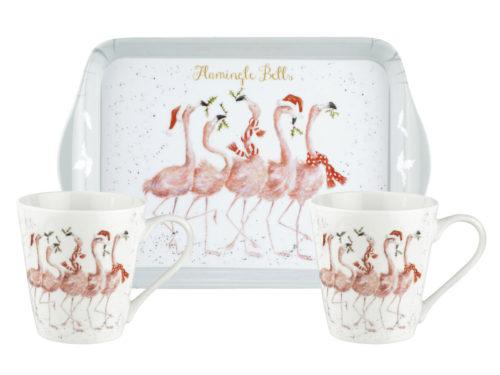 Royal Worcester Wrendale Flamingle Bells Christmas Tray and Mug Set