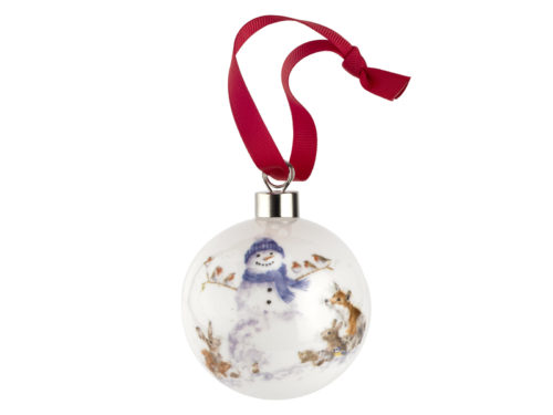 Royal Worcester Wrendale Christmas Snowman Bauble