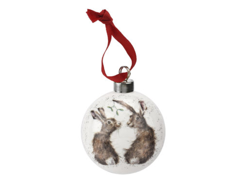 Royal Worcester Wrendale Christmas Under the Mistletoe Bauble