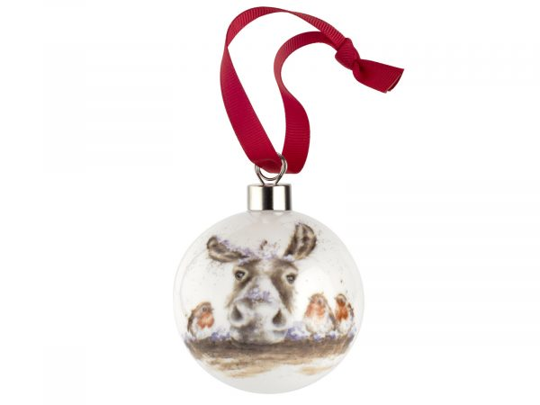 Royal Worcester Wrendale Christmas Decoration - Donkey and the Robin