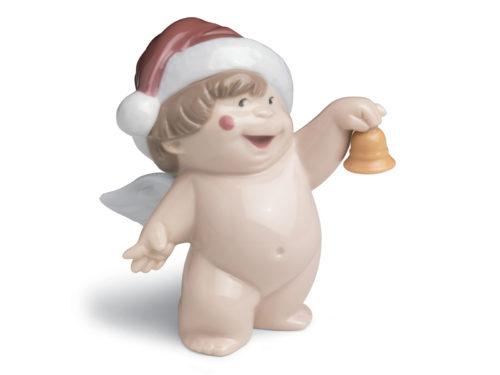 Nao Porcelian cherub with santas hat and bell. Ho ho ho
