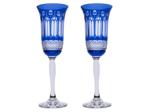 Royal Scot Crystal Belgravia Sky Blue Champagne Flutes