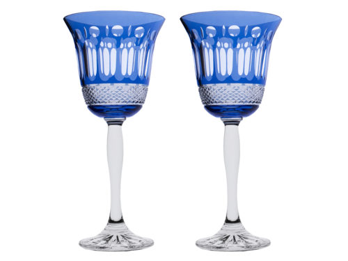 Royal Scot Crystal Belgravia Sky Blue Wine Glasses