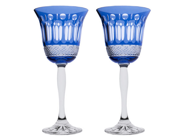 Royal Scot Crystal Belgravia Sky Blue Wine Glasses