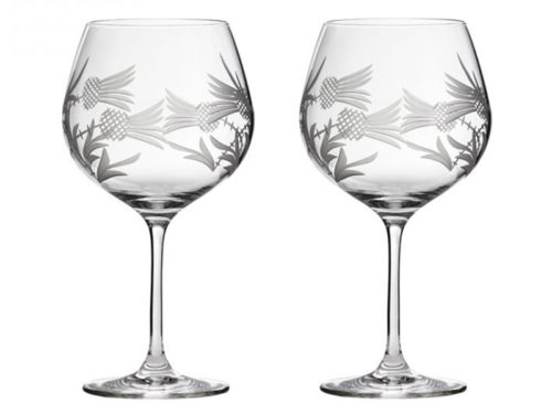 Royal Scot Crystal Flower Of Scotland Gin Copa Glass - Pair