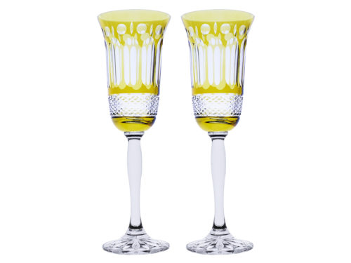 Royal Scot Crystal Belgravia Gold Amber Champagne Flutes