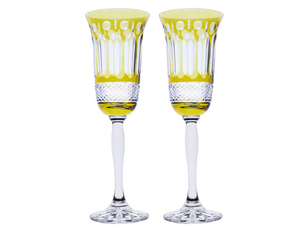 Royal Scot Crystal Belgravia Gold Amber Champagne Flutes